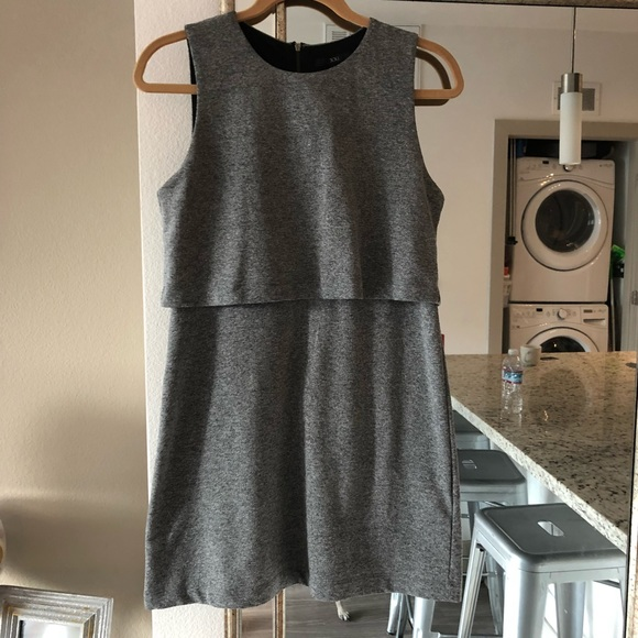 Forever 21 Dresses & Skirts - Basic double layer gray zip dress